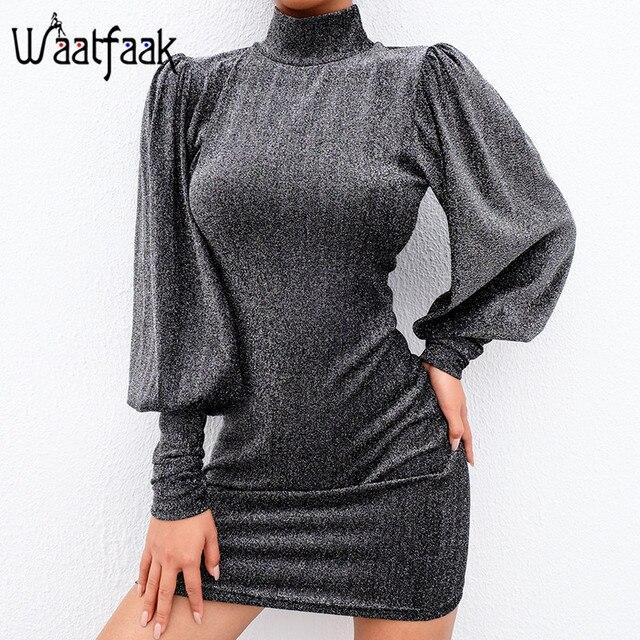 Waatfaak Autumn Glitter Dress Long Sleeve Evening Sexy Bodycon Dresses High  Neck Vestidos Vintage Knitted Mini 3e293203c35c