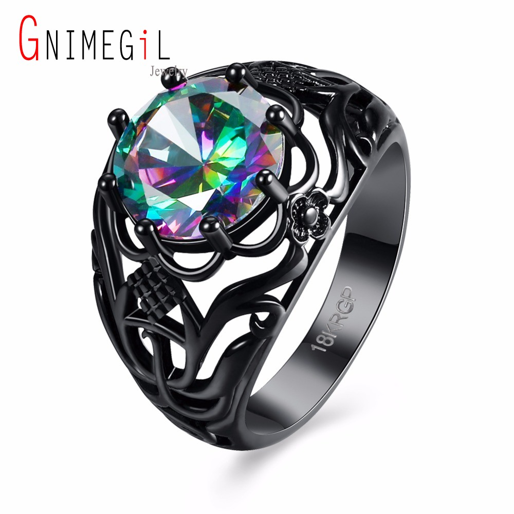GNIMEGIL Brand Vintage Jewelry Antique Colorful Cubic Zirconia Rings for Women Wedding Bands Black Female Engagement Ring