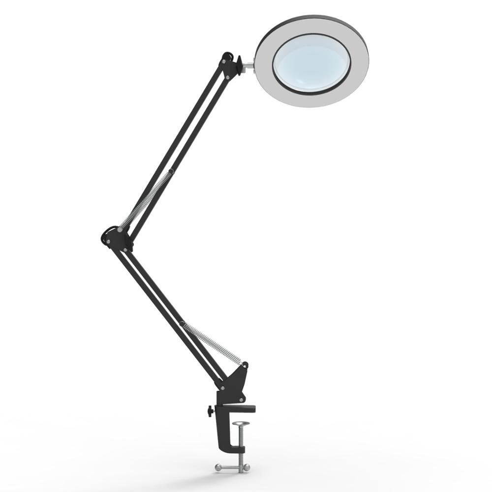 7W LED Magnifying Lamp Metal Clamp Swing Arm Desk Lamp Stepless Dimming 3Colors ,Magnifier LED lamp 3X,4.1Diameter Lens (White)