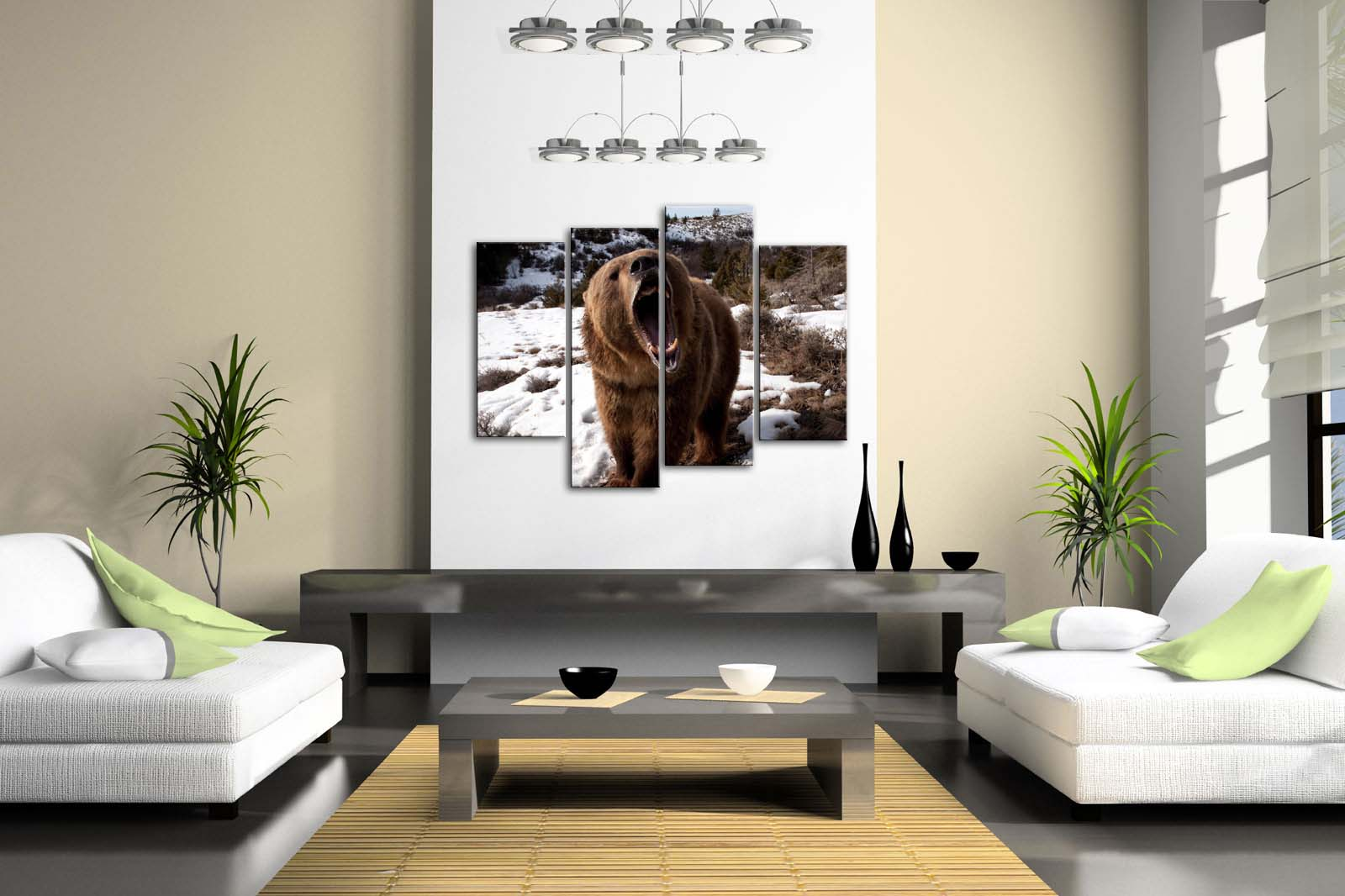 4 Pics Framed Wall Art Picture Bear Snowfield Grass Tree Canvas Print Animal Modern Posters With Wooden Frames For Decor - 2