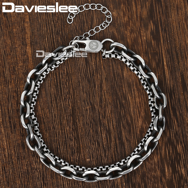 Davieslee Bracelet For Men Women Cable Box Link Double Chain Silver Tone Stainless Steel Adjustable Men's Bracelet DDB11 modern multilayered mixed colors box chain bracelet for women