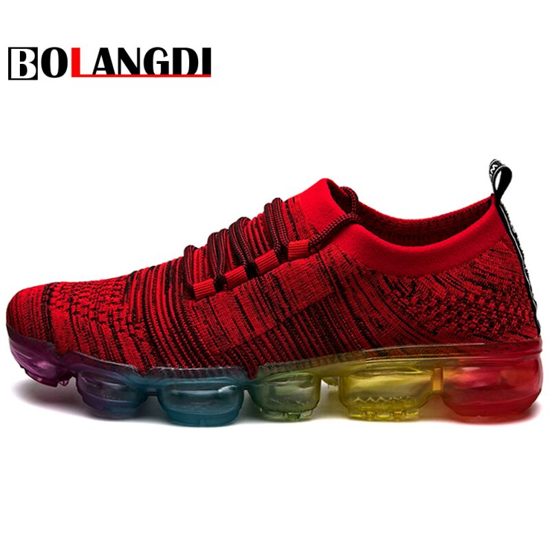 Bolangdi Men Air Cushion Running Shoes Mens Sneakers Lightweight Colorful Reflective Mesh Vamp For Outdoor Sports Jogging Shoes