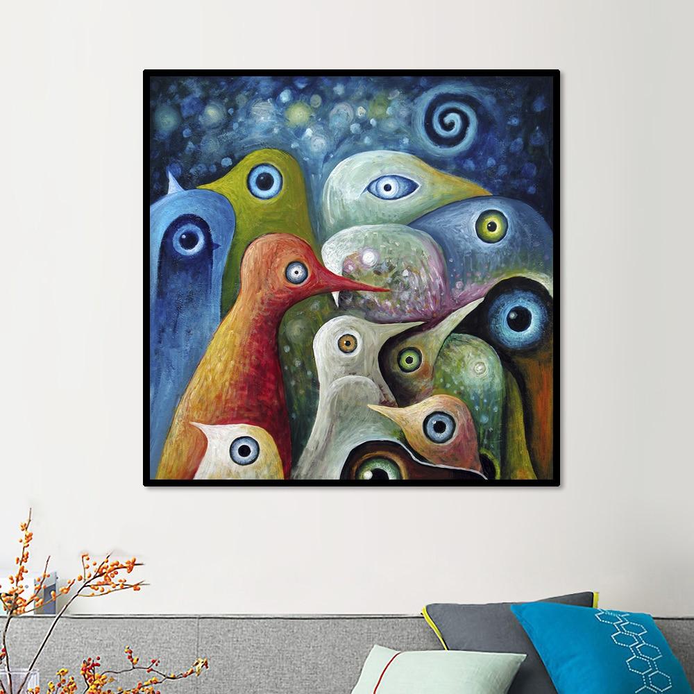 צייר יחיד צייר רב צבעוני ציפורים ציפורים מרובע בד ציור תמונה מודרנית Mural Art Home Living Office Wall Decor