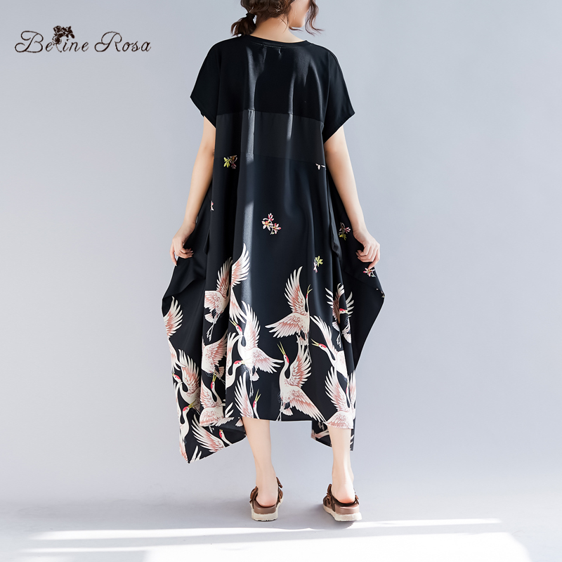 BelineRosa 2019 Summer Holiday Casual Style Shirt Dresses Elegant Printing Irregular Hem Black Plus Size Tunic Dress TYW00972