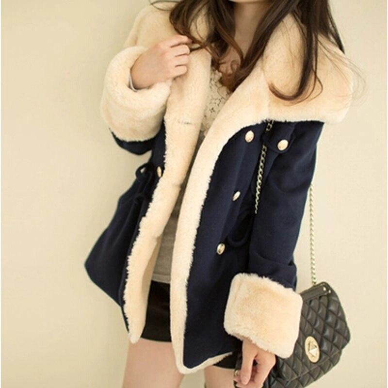 Lowest Price 2016 New Winter Women Coat Wool Double breasted Slim Wool Winter Jacket Plus Size