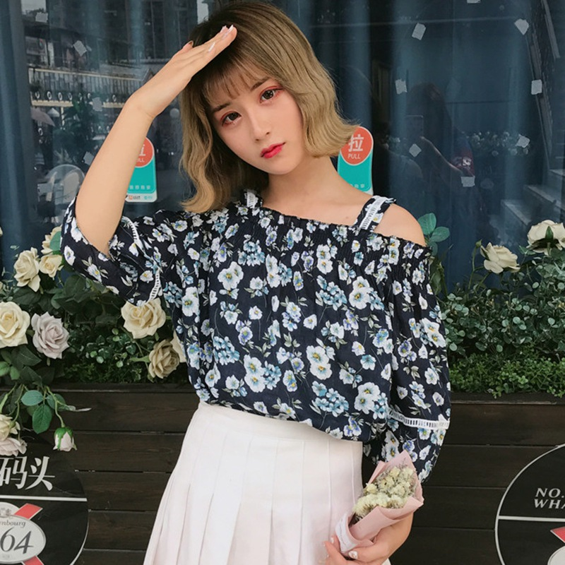 2019 Summer Women Sexy Off Shoulder Chiffon Blouses Fashion Boho Floral Printed Shirts Ladies Casual Half Sleeve Blouse Tops