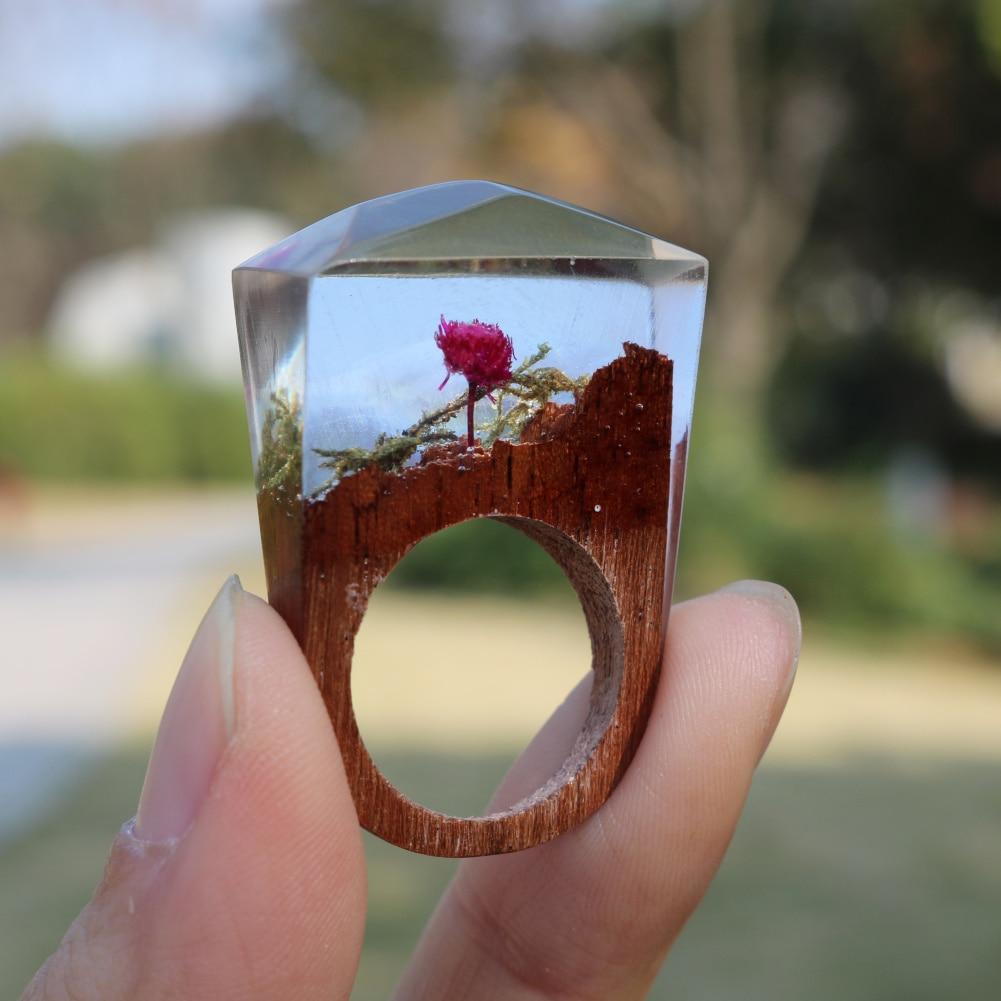 2018 Designer Rose floraison forêt anneaux en bois mondes miniatures à l'intérieur des anneaux résine Anillo anneau bijoux pour femmes pour hommes