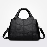 Designer Womens Bag Artificial Leather Handbags Knitting Black Ladies Shoulder Bags Small Women 2018 Totes Messenger