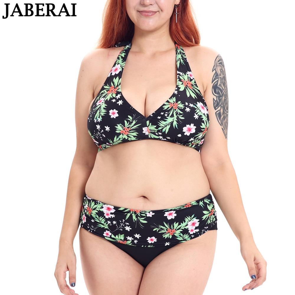 eb0231a39fb JABERAI Floral Print Bikini Set Women Bandeau Swimwear Plus Size Swimsuit  High Waist Bathing Suit Beachwear Push Up Biquinis