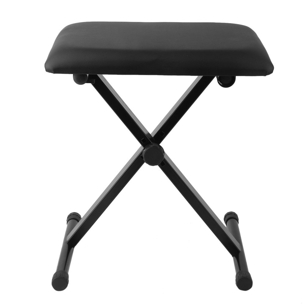 X Frame Keyboard Bench Durable Piano Stool Adjustable Height 44cm/47.5cm/50.5cm Padded Seat Chair Bench Piano Folding Chair Seat floral cushion design table stool padded piano chair wood stools rest cosmetics seat sofa bench simple stool home furniture