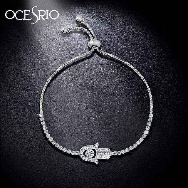 Ocesrio Paved Zircon Hamsa Bracelet Silver Charm Hand Of Fatima Adjule Women Fashion Jewelry