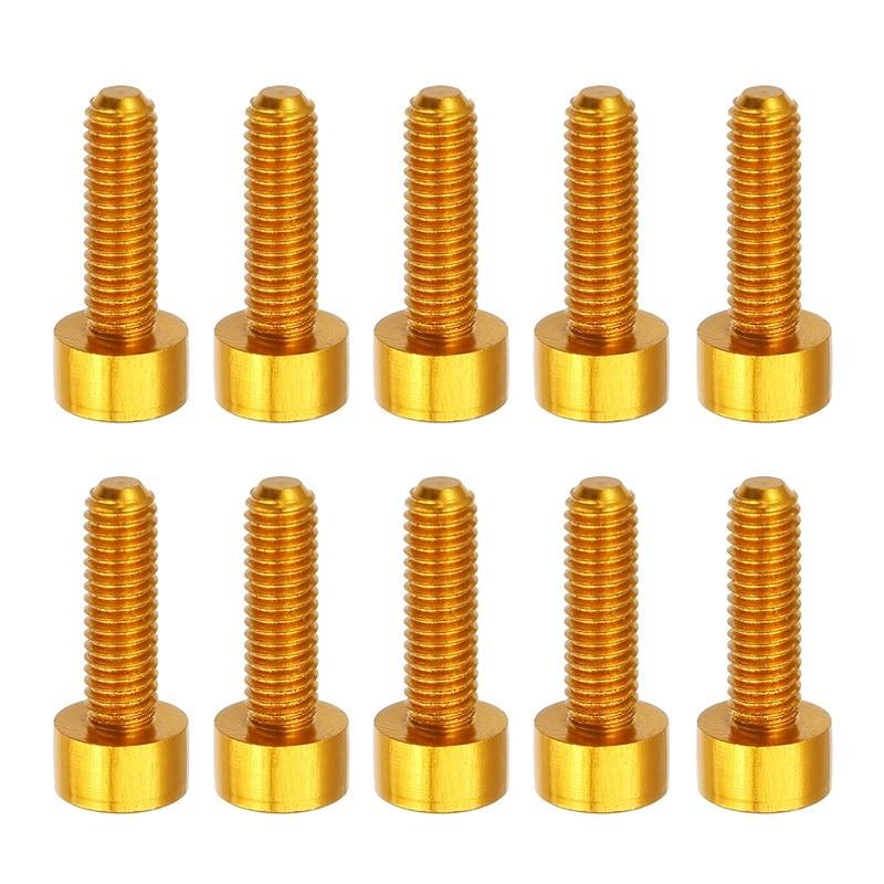 10PCS/BAG M3*10mm Hexagon Socket Cap Head Screw Hex Head 7075 Aluminum Alloy Gold Screws Bolt M3AH3 m3 titanium screw kit 9 size 90pcs m3 hex socket flat head screw din7991 titanium bolt super light screws 5mm 20mm