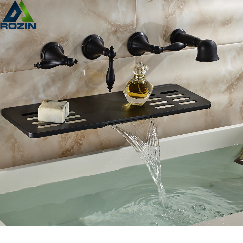 Oil Rubbed Bronze Wall Mounted Bathroom Tub Faucet Waterfall Spout W/ Soap Dish Hand Shower Sprayer