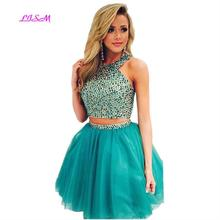 Halter Beaded Short Tulle Homecoming Dresses Two Pieces Girls Vestido De Formatura Crystals Mini Prom Dress for Juniors