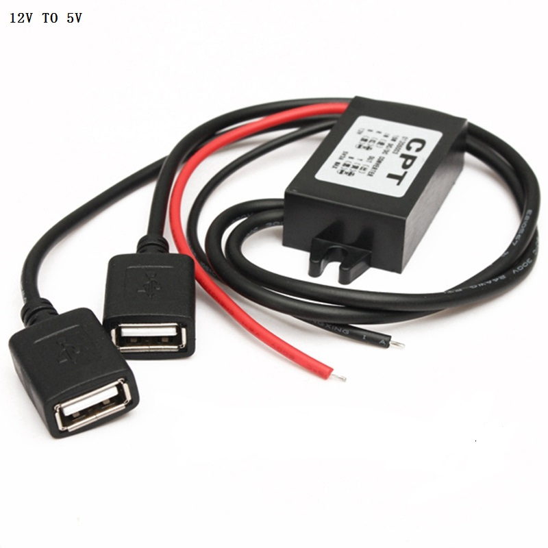 Hot Sale DC12V To 5V 3A Dual USB Power Charger Adapter Converter Cable Connector font b