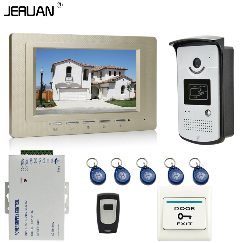 JERUAN New 7`` Color Screen Video DoorPhone Intercom System 1 Monitor +700TVL RFID Access Camera For 1 house In Stock