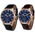 Nueva Ginebra Relojes Reloj de los hombres 2017 de La Moda de Oro Rosa Romana Reloj de Señoras Vestido Reloj de Pulsera Relogio Feminino Reloj de Cuarzo de Cuero