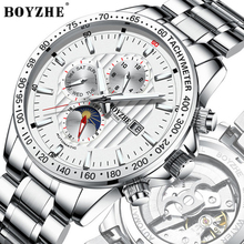BOYZHE Luxury Brand Automatic Mechanical man Watch waterproof Stainless Steel Luminous Sports Watches for man Relogio Masculino boyzhe man s automatic mechanical watch fashion brand business watch military sport waterproof clock luminous wristwatch for man