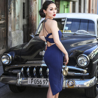 le palais vintage 2018 Summer Elegant Backless Dress Striped Corset Type Slim High Rise Dress Spaghetti Strap with Chest Pad