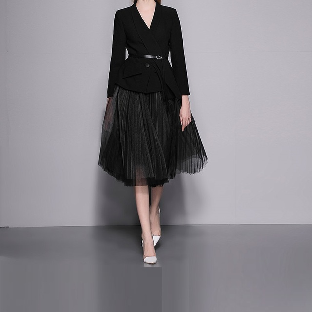 Autumn Winter Women Notched Collar Black Coat Blazer+Mid-Calf Length Mesh Skirt