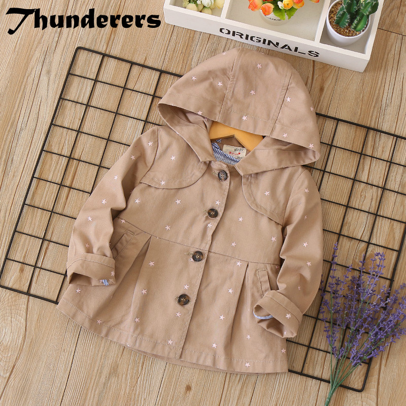 2018 spring & autumn new children's clothes jacket five-pointed star embroidery hooded cotton girls windbreaker children's coat