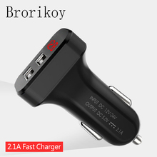 2 Ports 2A USB Car Charger LED Screen Smart Auto Adapter for iPad iPhone Samsung Car- Charging Mobile Phone Device Eastion