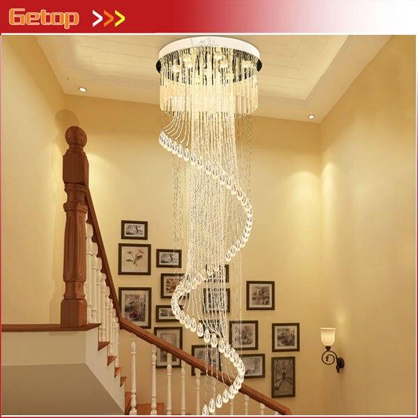 GETOP Rotation De Luxe En Cristal Moderne Plafond de Grande hauteur Escalier Creative Lampes d'éclairage Avec ampoule led