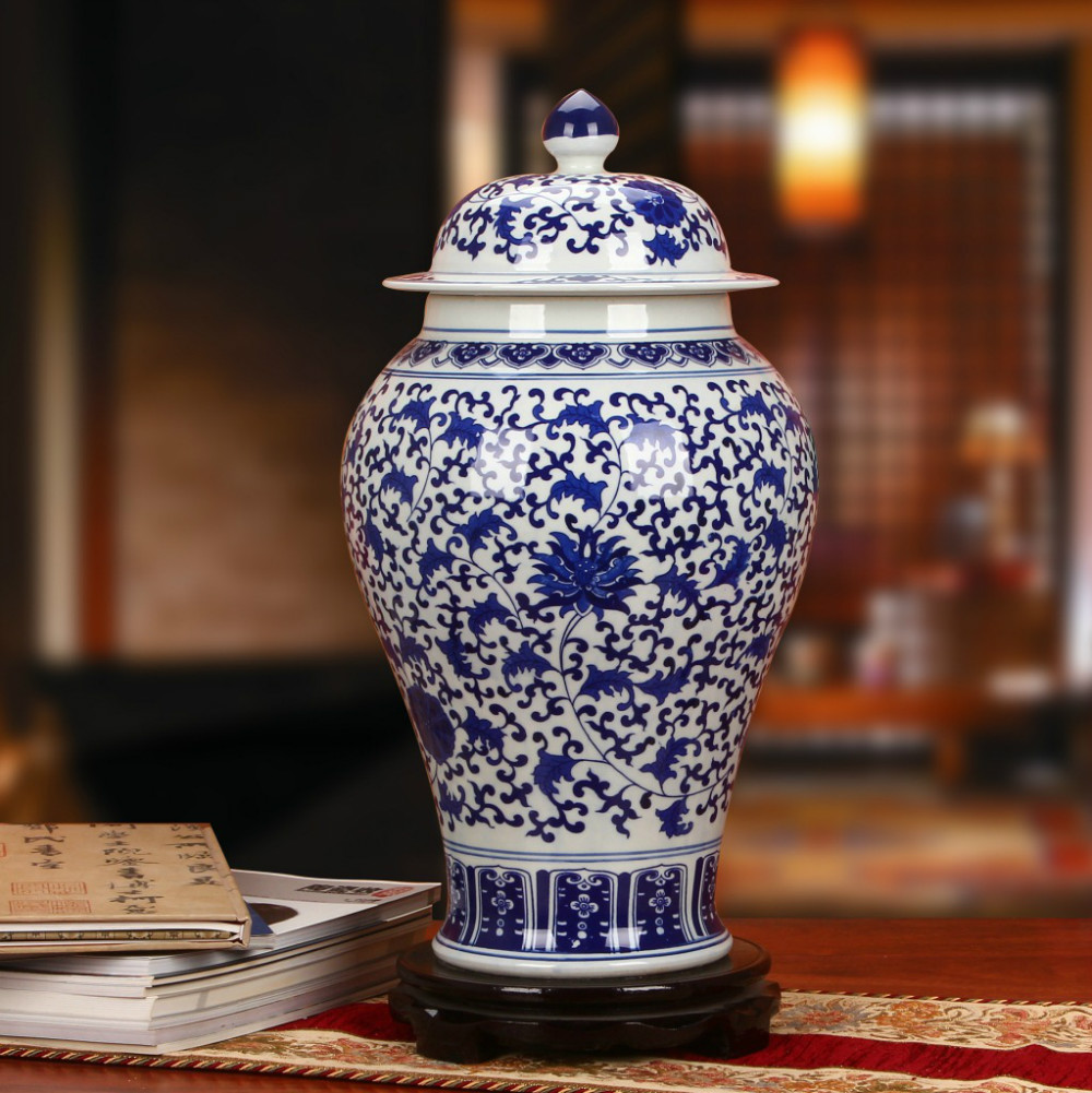 Qing Dynasty Ancient home decorate Porcelain Vase Temple