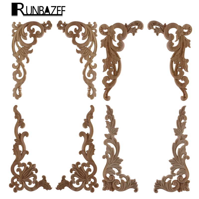 RUNBAZEF Style Wooden Wood Applique Decorative Antique Flower Piece Pass Background Wall Wardrobe Home Decoration Accessories