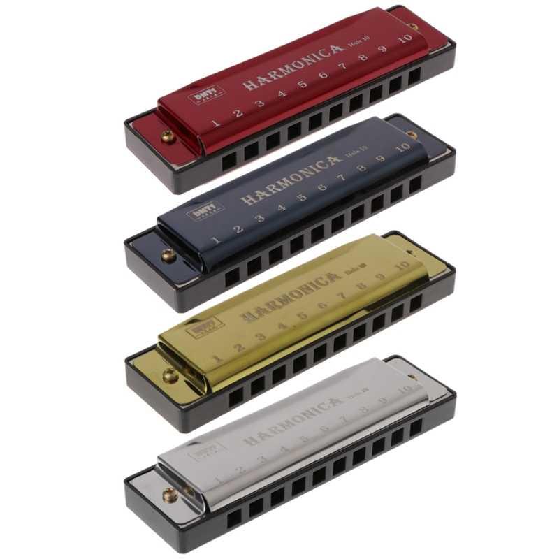 10 ثقوب مفتاح C البلوز هارمونيكا آلة موسيقية لعبة تعليمية مع حافظة