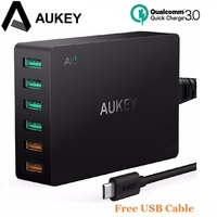 Aukey Qualcomm Quick Charge 3 0 6 Ports Quick Charger Smart Phone Charger Desktop USB Charger