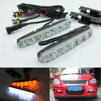 1 Pair Bright 12W 6 LED Car DRL Headlight Driving Daytime Running Lights Fog Lamp Daylight