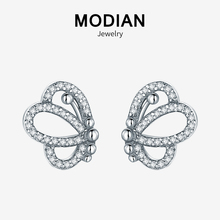 Modian Lovely Charm Butterfly Vintage Stud Earrings 925 Sterling Silver Brand Fashion Crystal Stud Earring For Women Jewelry modian genuine silver earrings for women 925 sterling silver stud earrings silver 925 with colorful fantastic jewelry