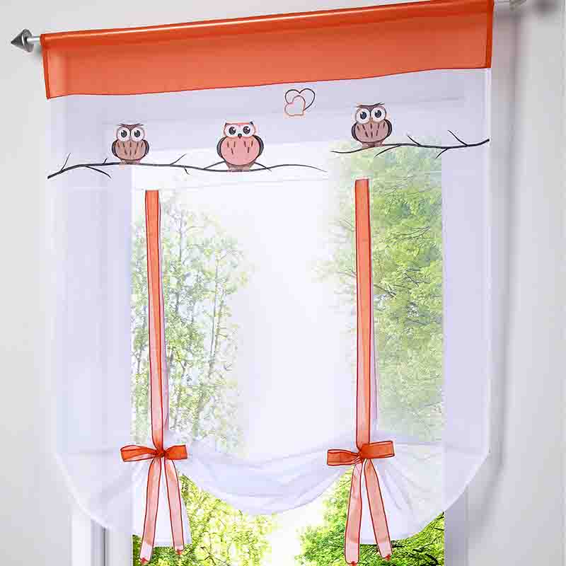 2016 cafe kitchen curtains voile window blind curtain owl embroidered tap top sheer kitchen door lifting roman blinds rod pocket