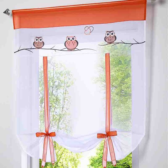 2016 Cafe Kitchen Curtains Voile Window Blind Curtain Owl Embroidered Tap Top Sheer Door Lifting
