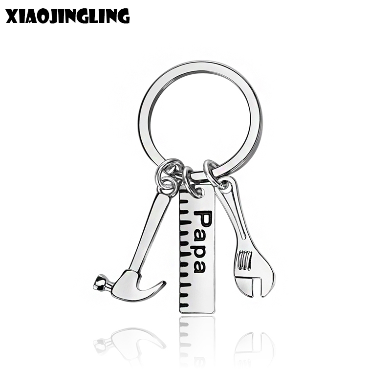 XIAOJINGLING 2 Styles Creative Hammer Keyring Trendy Pendants Keychains Papa Dad Father Car Keyfob Fathers Day Gift Key Chains