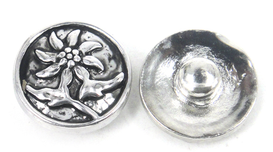 Free drop shipping Mini 1.2cm alloy beautiful flower DIY snap button metal charms