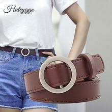 HATCYGGO Fashion Womens Leather Belt Female Round Buckle Wide belts for women Top quality strap jeans belt Feminine