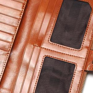 Image 5 - Billeteras de cera de aceite para mujer, Cartera de piel auténtica para mujer, con diseño de cremallera, tarjetero largo para teléfono 2020