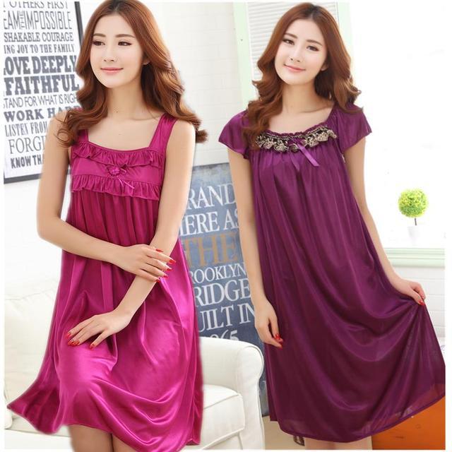 2016 summer women sleepwear imitated silk nightgown for girls sleepwear fashion sexy girls nightgown sexy silk dress girl