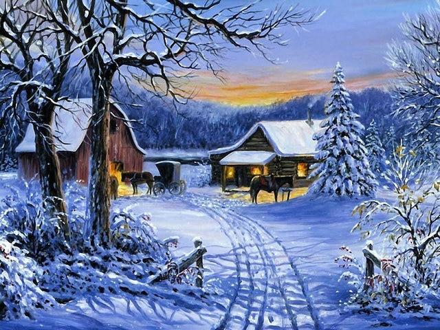 DIY Вышивка с кристаллами лошадь алмаз Вышивка моды масляной живописи зима снег пейзаж Алмазная мозаика живопись