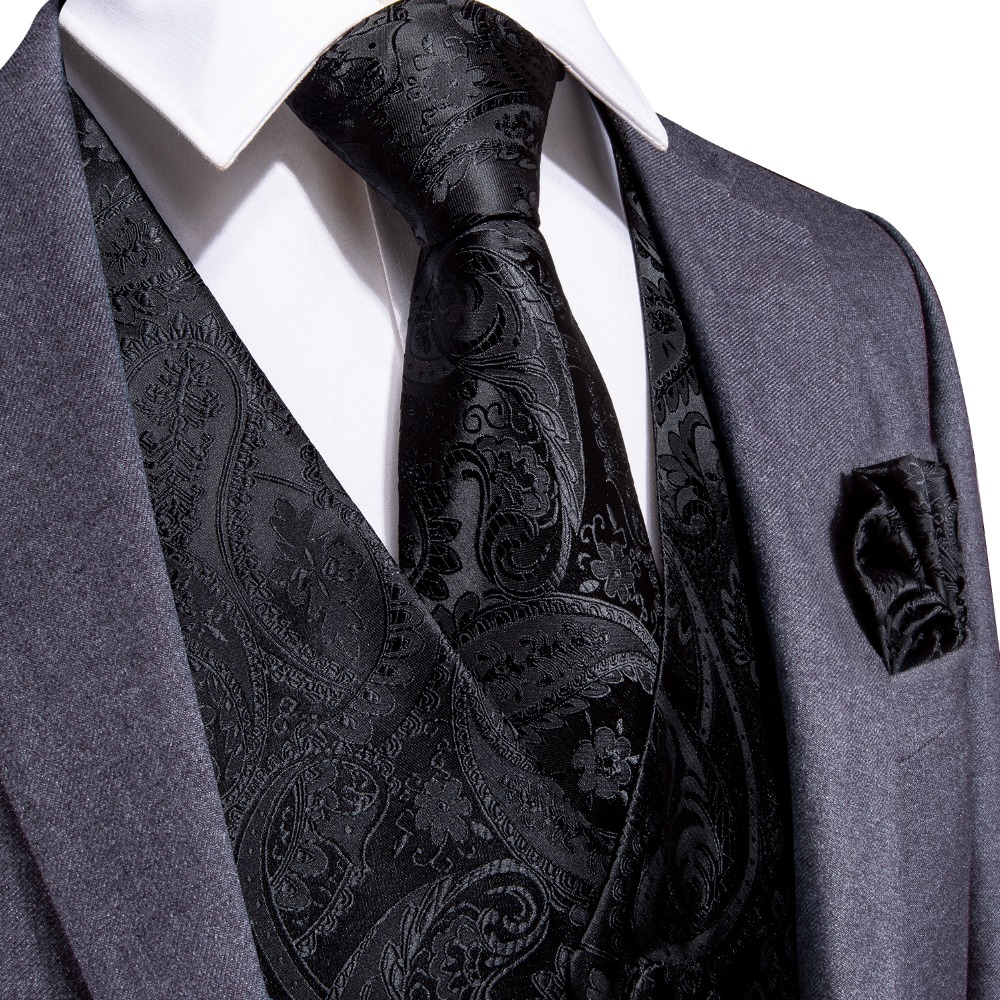 DiBanGu Black Paisley Fashion Wedding Men 100% Silk Waistcoat Vest Ties Pocket Square Cufflinks Set for Suit Tuxedo MJTZ-109