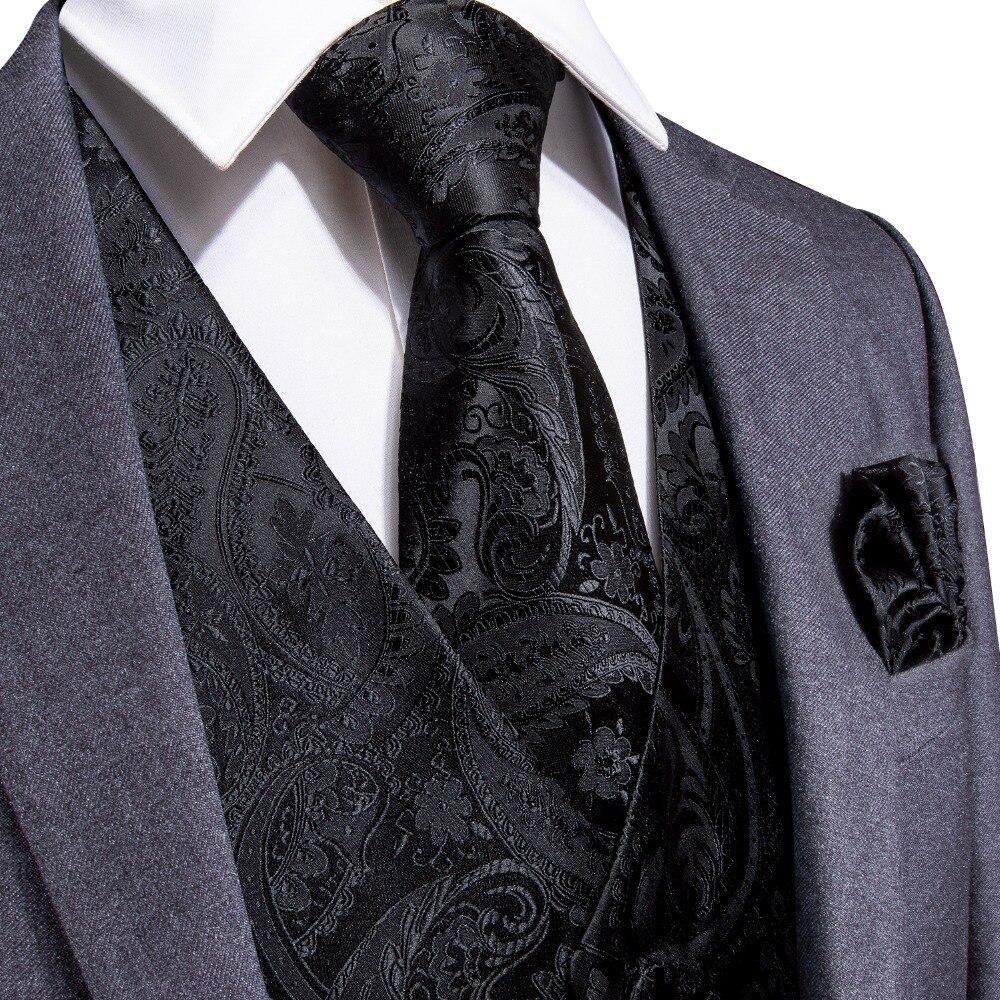 Devoto Dibangu Nero Paisley Uomini Cerimonia Nuziale Di Modo 100% Di Seta Gilet Gilet Cravatte Pocket Piazza Gemelli Set Per Il Vestito Smoking Mjtz-109 Buona Reputazione Nel Mondo