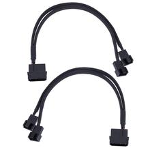 2pcs 4pin IDE Molex to 2 Port 3Pin/4Pin Cooler Cooling Fan Splitter Power Cable Black Sleeved Computer Cables Connectors