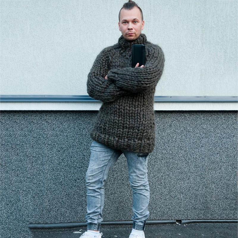 2019 printemps Super chunky hommes chandail lâche décontracté noir pull manteau épais chaud tricoté à la main Cool hommes chandail-in Pulls from Vêtements homme    2