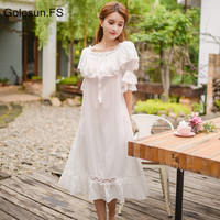 Summer Women Gowns Lace Cotton Princess Nightgown Ladies Casual Sleepwear Women Night wear Middle East Retro Style Dress 6880