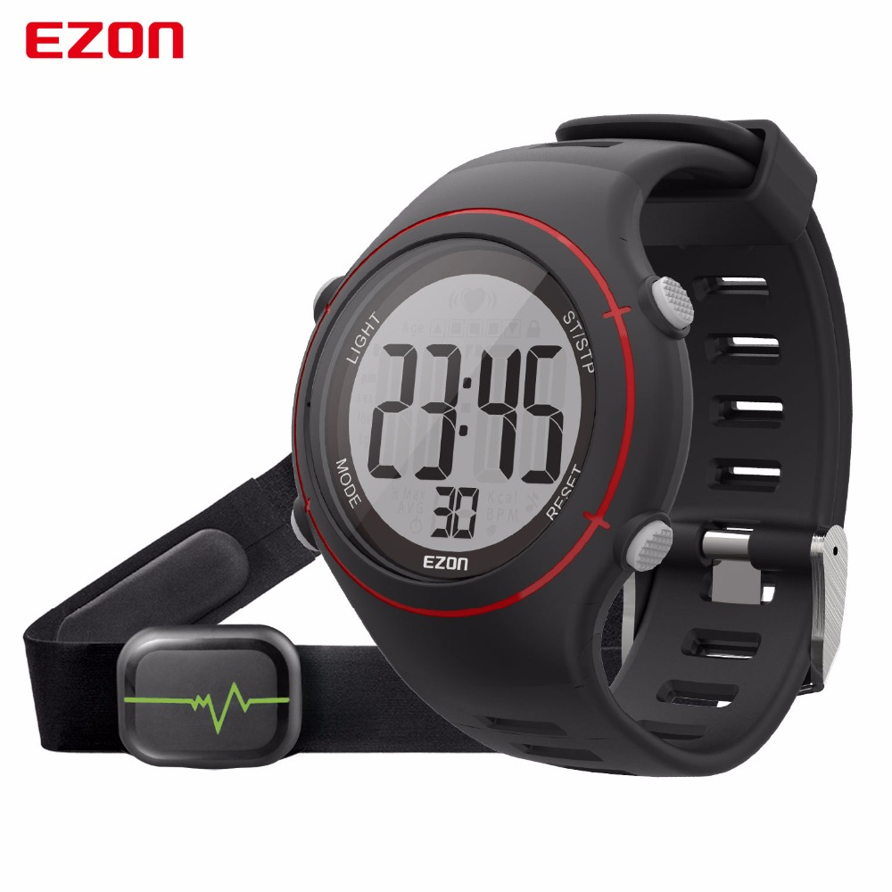 Digital Waterproof 50m Sport Watches For Men Women EZON Fitness Running Heart Rate Watch Man Outdoor Clock with Chest Strap ezon men women watch waterproof heart rate monitor outdoor running sport alarm chronograph digital watch clock with chest strap