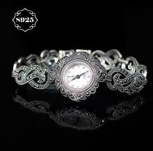 Limitée Classique Élégant S925 Argent Pur Thai Argent Fleur Bracelet Montres Processus Thaïlande Strass Bracelet Dresswatch