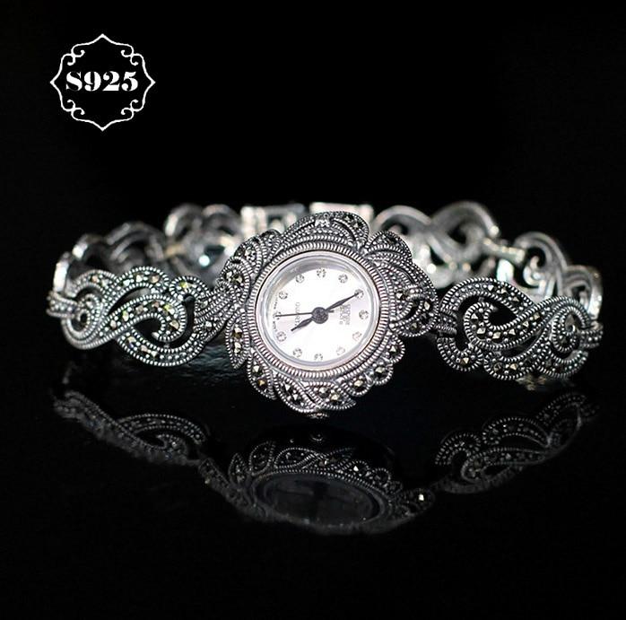 Limited Classic Elegant S925 Silver Pure Thai Silver Flower Bracelet font b Watches b font Thailand