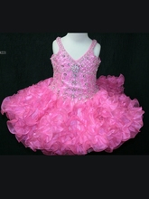 Neon Pink Little Rosie Ball Gown Flower Girl Dresses With V-Neck Beaded Sequine Organza Short Pageant Dresses Zipper Up sparkling little rosie ball gown flower girl dresses with halter neck beaded ruffles organza short pageant dresses zipper up